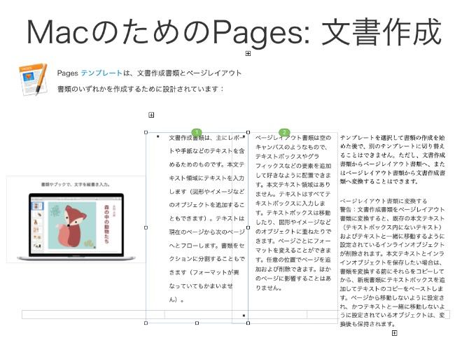 ページレイアウト書類はこんな感じ。テキスト枠も図や表も一つ一つがオブジェクトとして扱われます。
